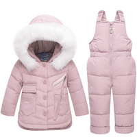 Girls Boys Ski Suit Winter Children Clothing Set Thicken Duck Down Jacket Coat+Overalls Warm Windproof Kids Girls Snowsuit