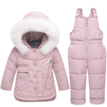 цена на Girls Boys Ski Suit Winter Children Clothing Set Thicken Duck Down Jacket Coat+Overalls Warm Windproof Kids Girls Snowsuit