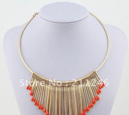 Free shipping 2015 Newest Fashion Necklace Jewelry Wholesale Vintage Metal multi-level fringed color matchemetal Choker Necklace