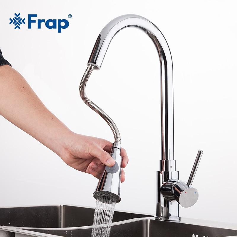 Frap Новый 1 комплект вытащить Chrome Кухня кран раковина смеситель поворотным Носик раковина кран поворотный Медь Смесители для кухни коснитесь f6052