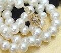 Envío gratis>> @ 8-9mm blanco VERDADERO collar de perlas cultivadas