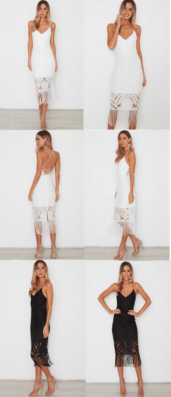 Backless V Neck Zipper Black White Lace Hollow Out Dress
