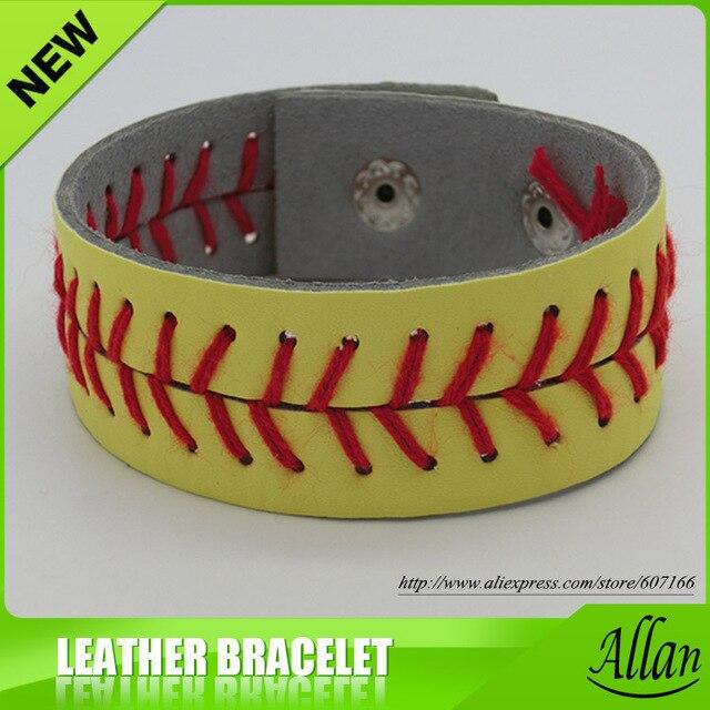 Softball Bracelet 2017 Est Usa Softall Sports Red Sching Seam Yellow Genuine Leather Bracelets