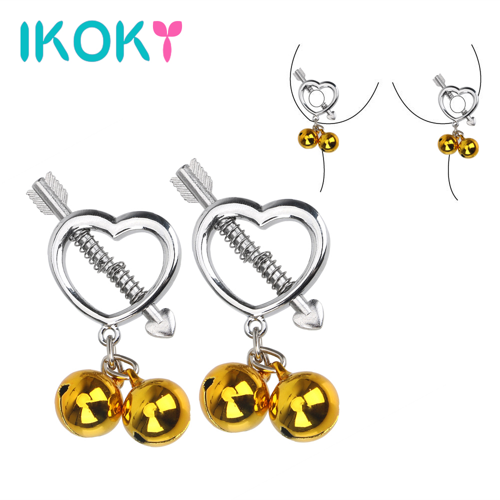 IKOKY 1 Pair Nipple Clamps Heart Shape Metal Breast Clips Nipple Stimulator Teaser Adult Games Sex Toy for Couples Flirting carpenterworm shape with hand shank cat faves teaser toy page 8