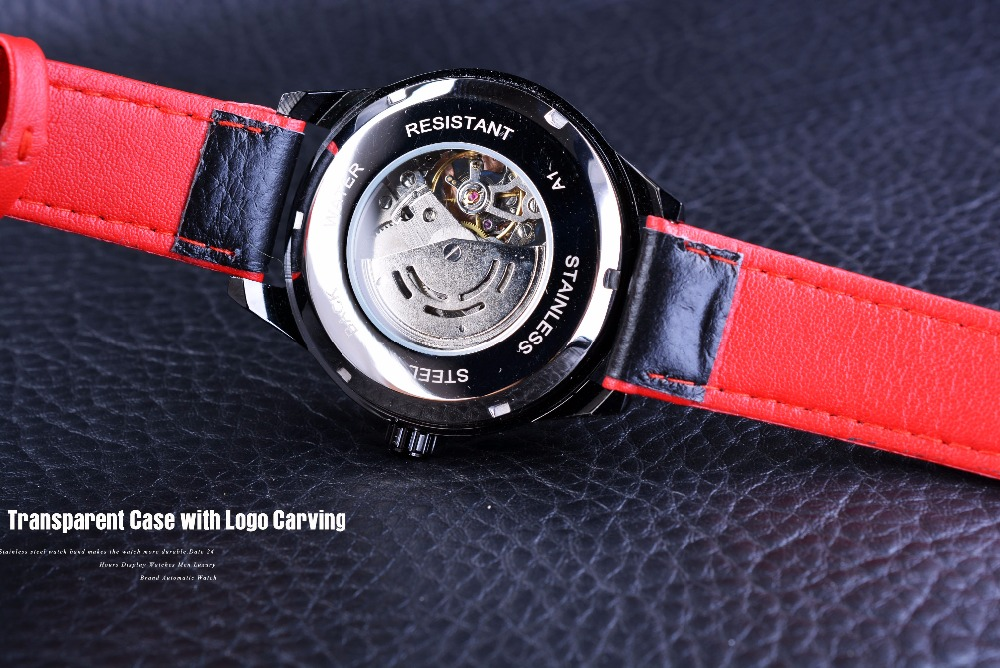 Forsining Motorcycle Design Genuine Black Belt Waterproof Skeleton Men Automatic Watches Top Brand Luxury Mechanical Male Clock
