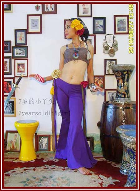 Belly Dance Pants Lycra Cotton Tribal Belly Dance Sharp Corners Flare Pants With Tape AJ07-12