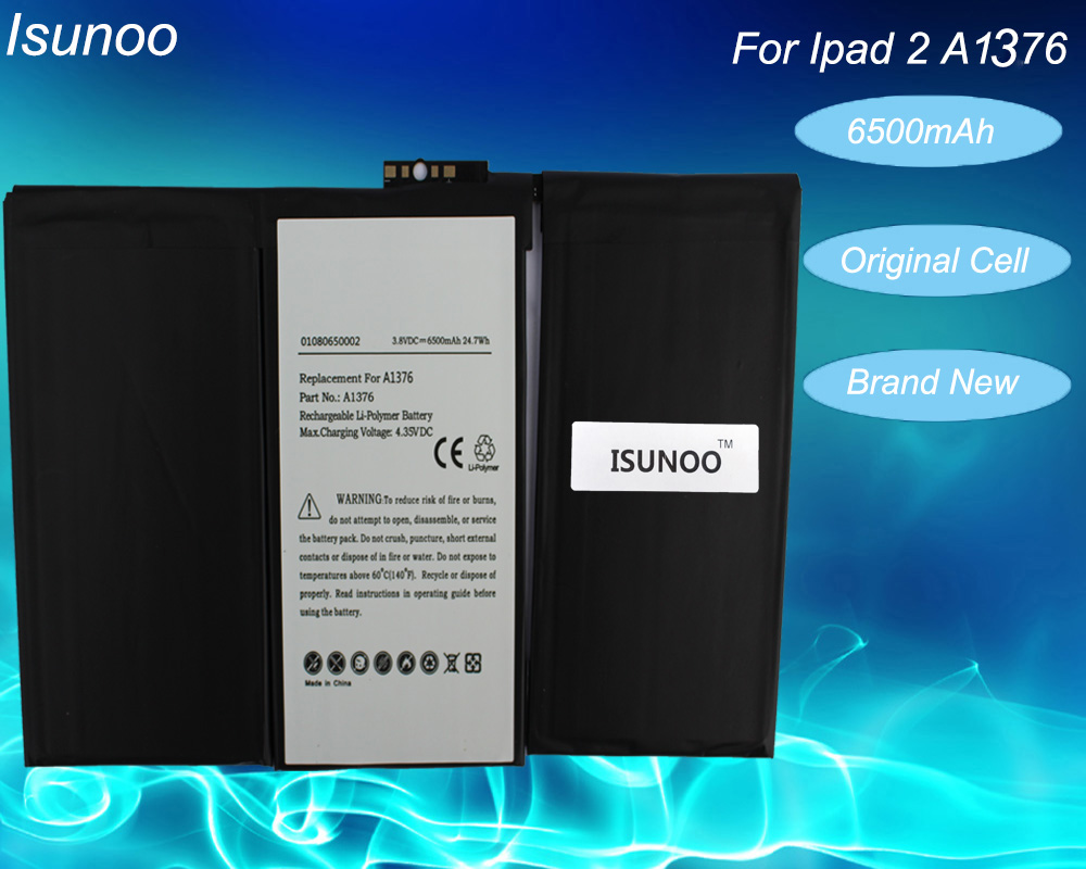 ISUNOO 2pcs/lot Original Quality <font><b>Battery</b></font> For Apple iPad 2 Internal <font><b>Battery</b></font> Built in Li-Polymer <font><b>Batteries</b></font> <font><b>A1376</b></font> A1395 6500mAh image