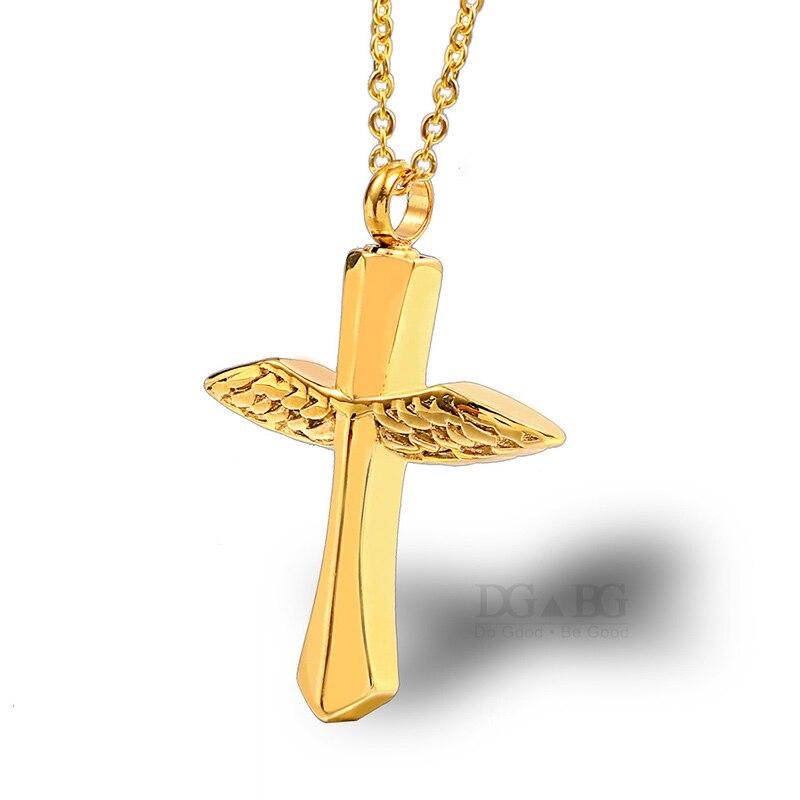 Crémation bijoux ange ailes urne pour cendres parfum bouteille funéraire urne croix collier cendres souvenir bijoux mémorial pendentif
