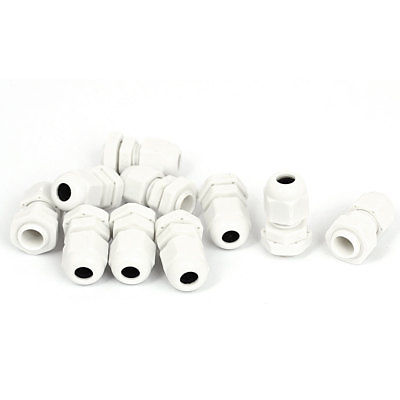 10pcs White PG7 3 6.5mm Waterproof Electrical Cable Gland