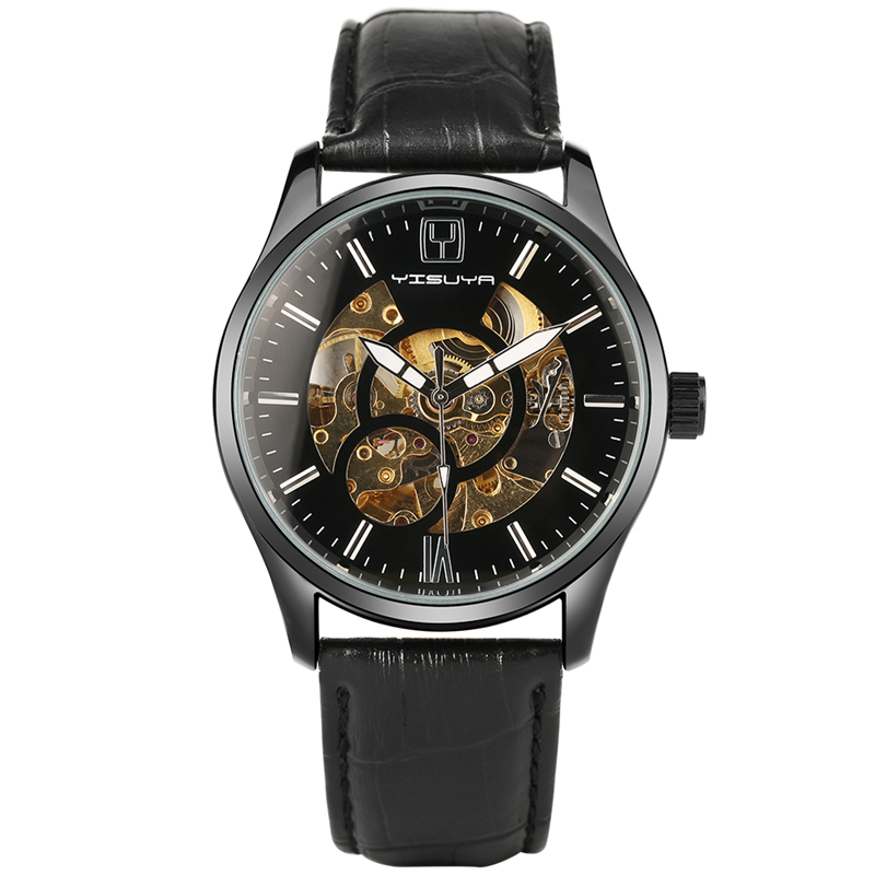 Hot Sale YISUYA Luxury Stylish Genuine Leather Band Skeleton Black Automatic Self-Wind Men Business Trendy Wrist Watch Relogio luxury women hand winding mechanical wrist watch genuine leather band strap dress wind up skeleton roman number stylish