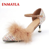 3c485b08bb0fe ENMAYLA New Arrival Lady Faux Fur Elegant High Heel Pumps Women Pointed Toe  Shallow Buckle Strap