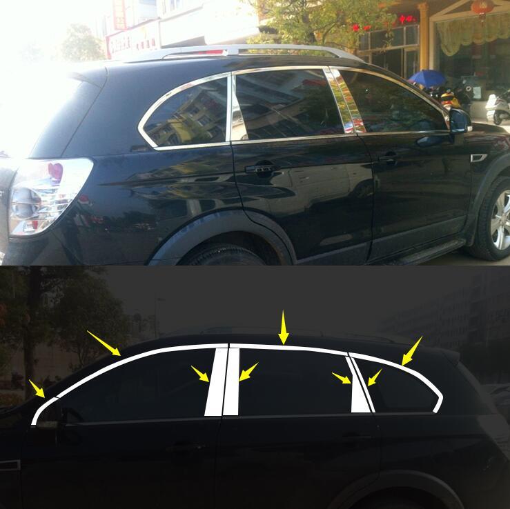 Voiture-style cas Pour Chevrolet Captiva 2013-2015 En Acier Inoxydable De Voiture Styling Pleine Fenêtre Garniture Décoration Bandes Accessoires