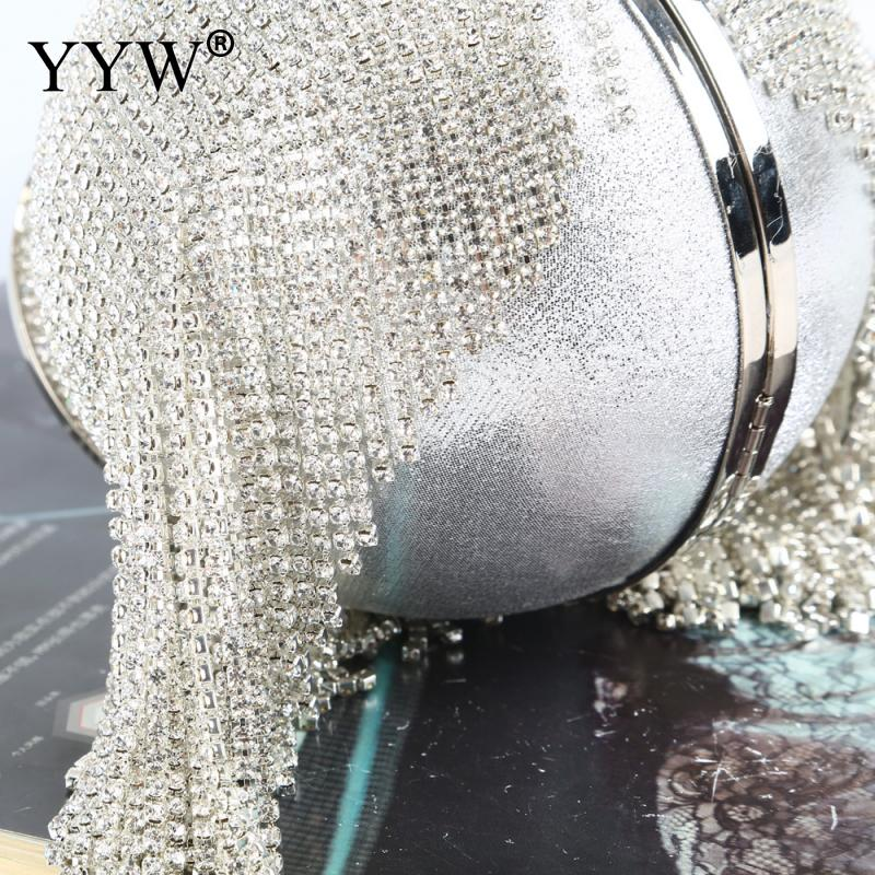 HTB1.5hNXZnrK1RkHFrdq6xCoFXaB - Sliver Diamonds Rhinestone Round Ball Evening Bags For Women Fashion Mini Tassels Clutch Bag Ladies Ring Handbag Clutches
