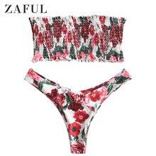 ZAFUL Floral Bandeau Smocked Top Bikinis Set Thong Bottoms Women'S Swimsuits Shirred Swimwear Strapless Brazilian Bikini 2019
