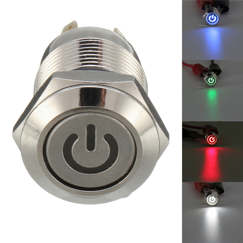 1pcs 12mm Waterproof Metal Flat Head Push Button Switch Momentary type Start Switch With LED New 1pc 12mm power start push button with led 12v 24v momentary auto reset metal button switch indication illuminated flat head