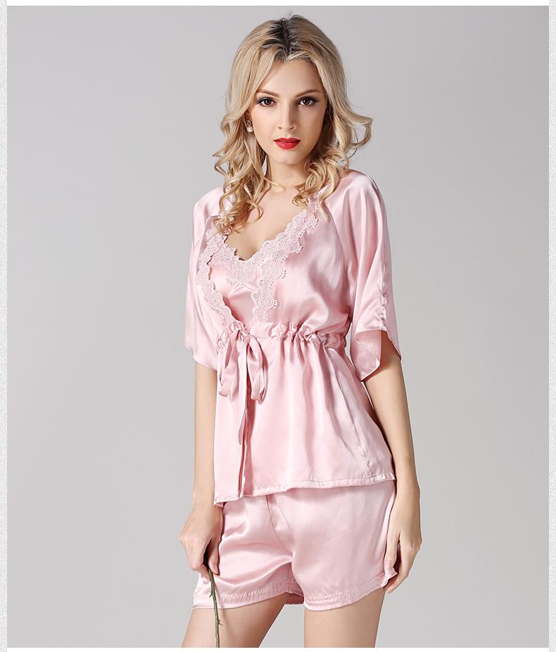 2acf7fda4f Las mujeres de Seda Pura Pijamas Robe + Tops + Pants Conjuntos de ...