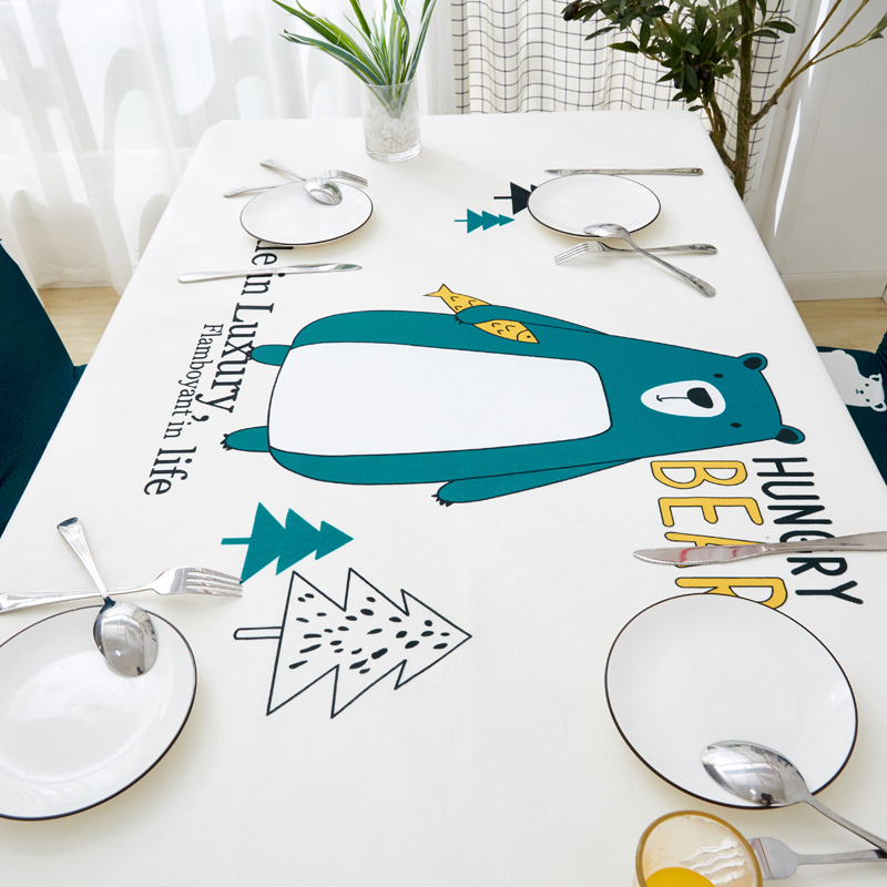 Image 5 - Parkshin Modern Cartoon Bear Tablecloth Home Kitchen Rectangle Decorative Table Cloths Party Banquet Dining Table Cover 4 Size-in Tablecloths from Home & Garden