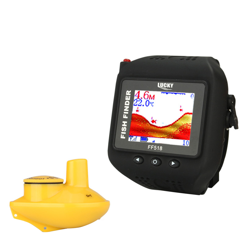 Lucky FF518 60m/200ft Wireless Sonar Echo Watch Type Fish Finder Portable Fishing Sounder Alarm Function Waterproof FishfinderLucky FF518 60m/200ft Wireless Sonar Echo Watch Type Fish Finder Portable Fishing Sounder Alarm Function Waterproof Fishfinder