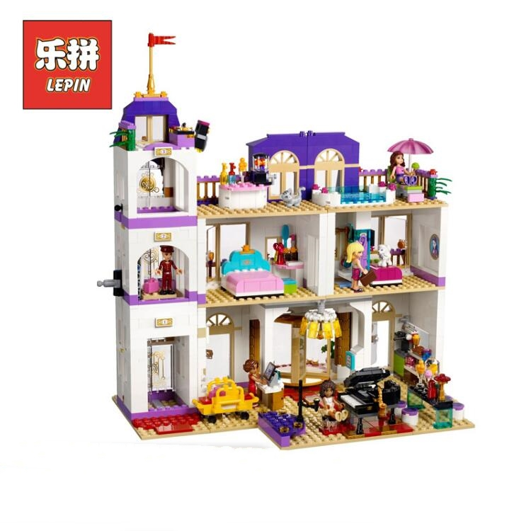 LEPIN 01045 Girl Series the Heartlake Grand Hotel DIY Big Doll House Set Model Building Kits Blocks Bricks Children Toys Gift lepin 01018 girl series enchanted castle princess diy set doll house model building kits blocks bricks children toys christmas