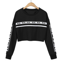 Sweatshirts Women's White Letter Print Crop Sweatshirt Top Women Loose pullovers Sweatshirts sep12 цена и фото