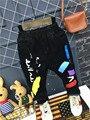Negro Skinny Jeans Para Niños Pantalones Vaqueros Del Muchacho Del Niño de la Manera Impresión en Color Para El Muchacho Con Una Banda Elástica Monya