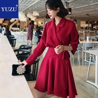 Red Blazer Dress Office Fashion Women Ruffles Bandage Lacing Up Turn down Collar Long Sleeve Autumn A line Pink Fall Dresses