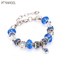Poshfeel Fashion Dog Charm Bracelets For Women Diy Crystal Beads Bracelets & Bangles Pulseras Mujer Mbr170130