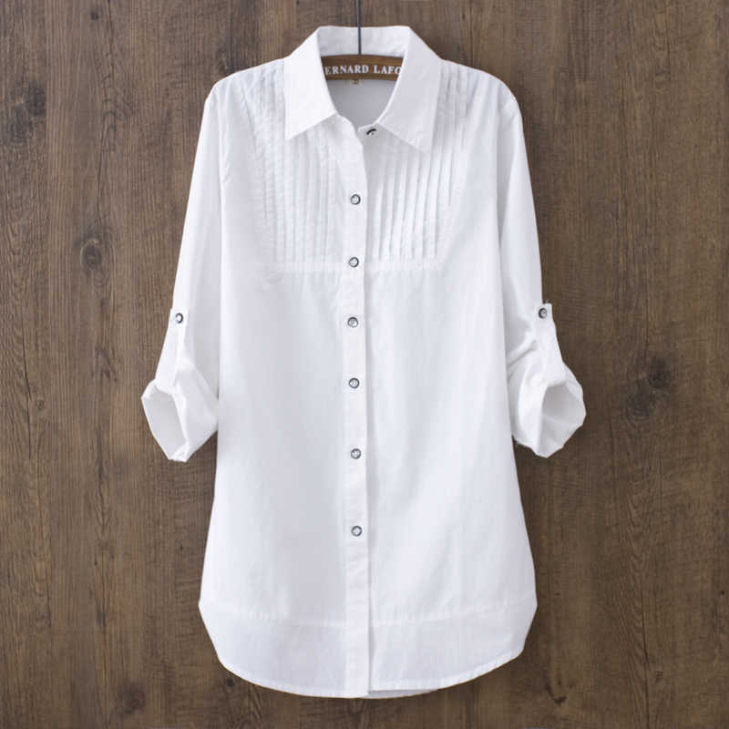 100% Cotton 2019 Spring Summer Women White Blouse Long-sleeved Slim Cotton Casual Work White Shirts Office Lady Button Tops 0.22