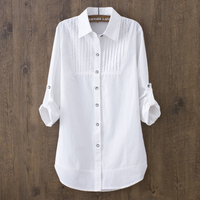 100% хлопок 2018 сезон: весна–лето Для женщин белая блузка с длинными рукавами Тонкий хлопок Повседневная Рабочая белые рубашки для офиса, 0.22