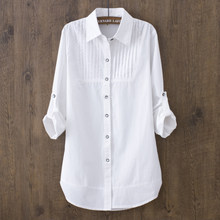 5c0341ce995c 100% Cotton 2019 Spring Summer Women White Blouse Long-sleeved Slim Cotton  Casual Work White Shirts Office Lady Button Tops 0.22