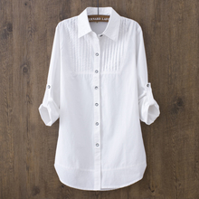 100% Cotton 2019 Spring Summer Women White Blouse Long-sleeved Slim Cotton Casua
