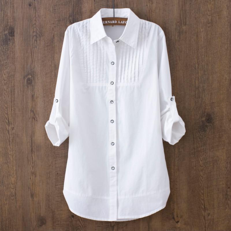 100% Baumwolle 2019 Frühling Sommer Frauen Weiße Bluse Lange ärmeln Dünne Baumwolle Casual Arbeit Weiß Shirts Büro Dame Taste Tops 0,22 BerüHmt FüR AusgewäHlte Materialien, Neuartige Designs, Herrliche Farben Und Exquisite Verarbeitung