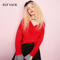 ELF SACK Autumn New Women Sweater V Neck Solid Pullovers Ruffles Long Sleeve Red Tops Woman Sweaters Hand Knitted Femme Sweater