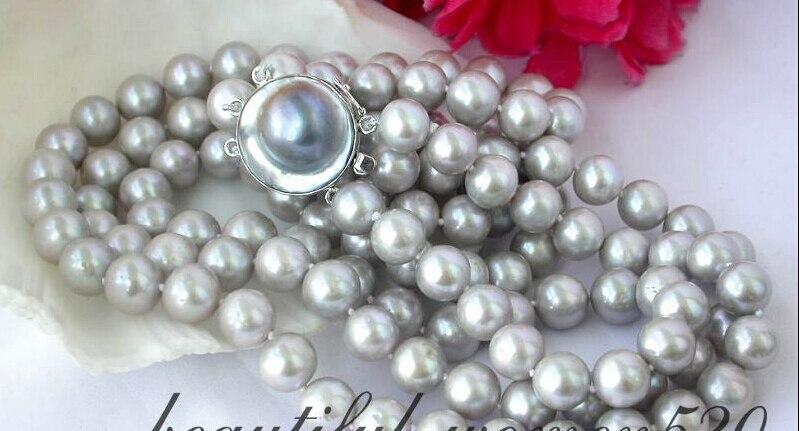 Z2363 3row 11mm collier de perles rondes gris fw argent mabe AAAZ2363 3row 11mm collier de perles rondes gris fw argent mabe AAA