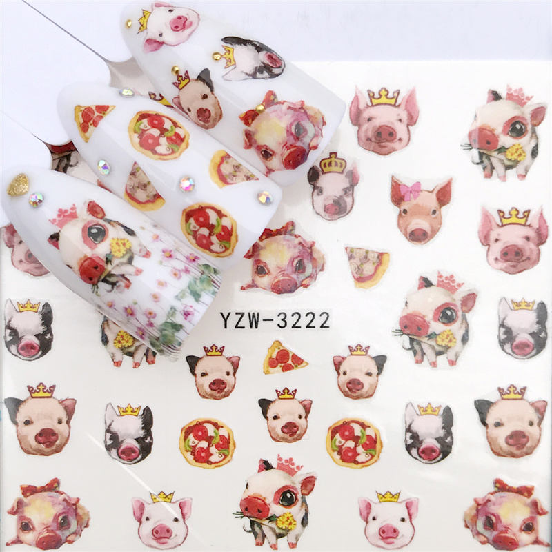FWC 1 PC 2019 New Styles Nail Sticker Water Decals Cartoon