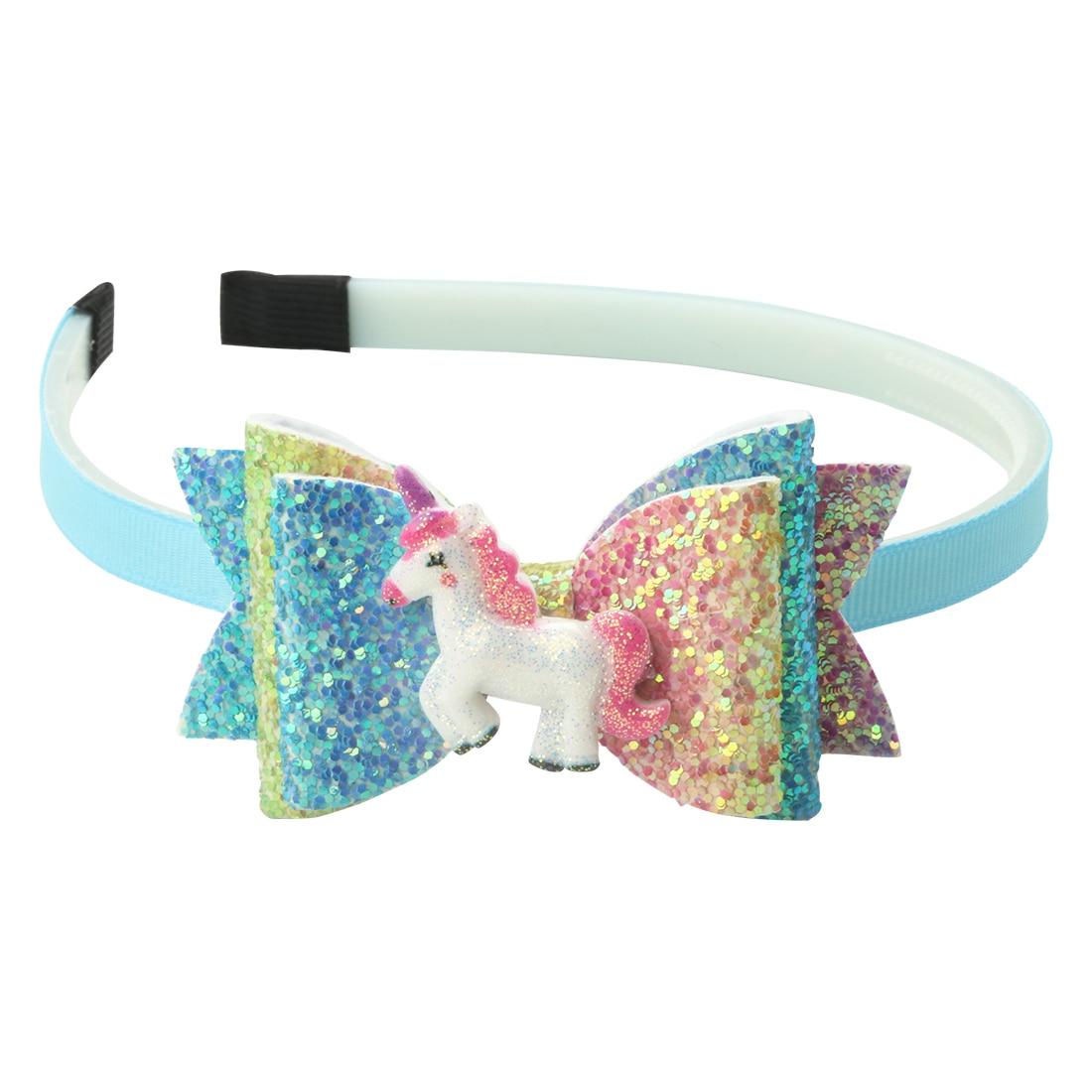 1 Pc Glitter Archi Unicorno Hairbands Arcobaleno Paillettes Brillante A Coda Di Rondine Fasce Hairbow Fasce Dei Capelli Dei Bambini Delle Ragazze Copricapi