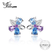 JewelryPalace Flower 2 6ct Natural Sky Blue Topaz Amethyst Stud Earrings 925 Sterling Silver 2016 Fine