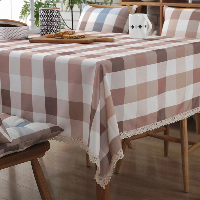 Cafe Tarpaulins Grid Table Cover Plaid Fabric Waterproof Floral Square  Oilcloth Brown Classic Checks Tablecloth Coffee Very Big