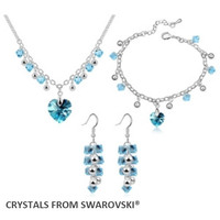 2017 hot sale style classic heart Wedding jewelry sets crystal necklace set made with swarovski elements Christmas Gift