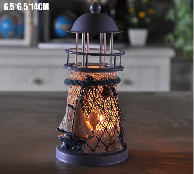 40 pcs New Arrive Mediterranean style lighthouse wrought iron Candlestick Candle holder Home decoration-in Candle Holders from Home & Garden    3