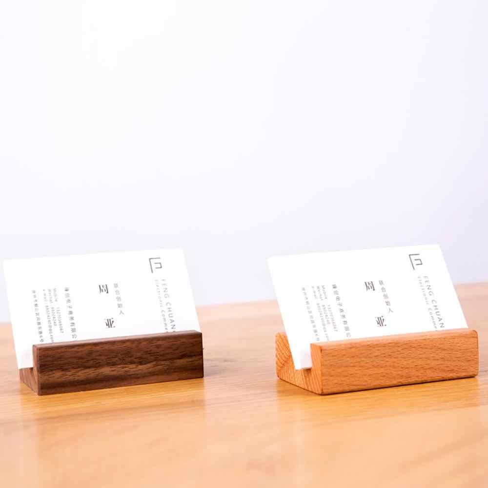 שחור אגוז אשור עץ כרטיס ביקור מחזיק שולחן במשרד עץ תמונה Stand שם תזכיר קליפים ארגונית אחסון ארוחת ערב המפלגה דקור