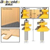 2pcs Lot 1 2 Matched Tongue Groove V Notch Router Bit Set Wooden CNC Endmill Door