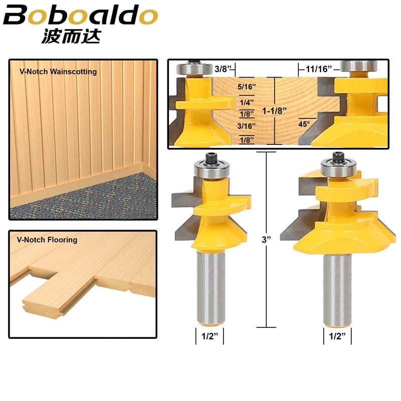 2pcs/lot 1/2 Matched Tongue & Groove V Notch Router Bit Set Wooden CNC endmill Door Construction