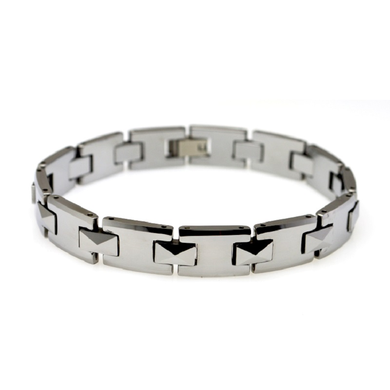 High Quality Mens Womens Wristband Jewelry Silver Solid Tungsten Carbide Bracelet Waterproof & Scratch Proof Link Chain TU010B 2016 chain link charm china wholesaler top quality mens and womens wide titanium fashion bracelet jewelry