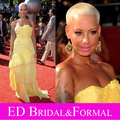 Amber Rose Mango Yellow Dress at 8th Annual ESPY Awards Red Carpet Sheath Fitted Celebrity Long Formal Evening Gown