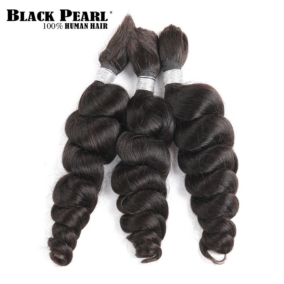 Black Pearl Pre-Colored Brazilian Hair Bundles Loose Wave Human Hair Bulk 3 Bundles Remy Braiding Hair Extenions Braids Hair