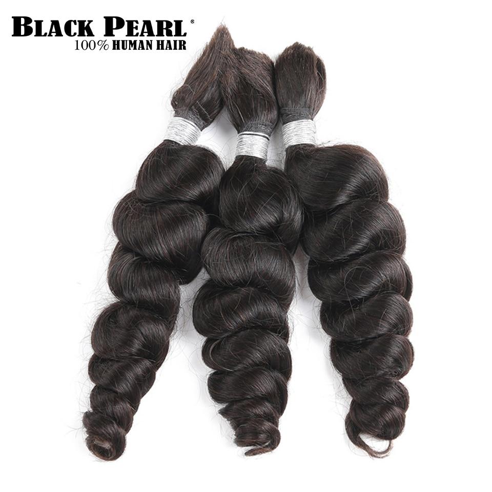 Black Pearl Pre-Colored Brazilian Hair Bundles Loose Wave Human Hair Bulk 3 Bundles Remy Braiding Hair Extenions Braids Hair