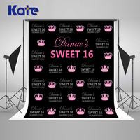 Kate Happy Birthday Photocall Background Photography 8x8ft Princess Crown Backgrounds For Photo Studio Custom Cotton Backdrop