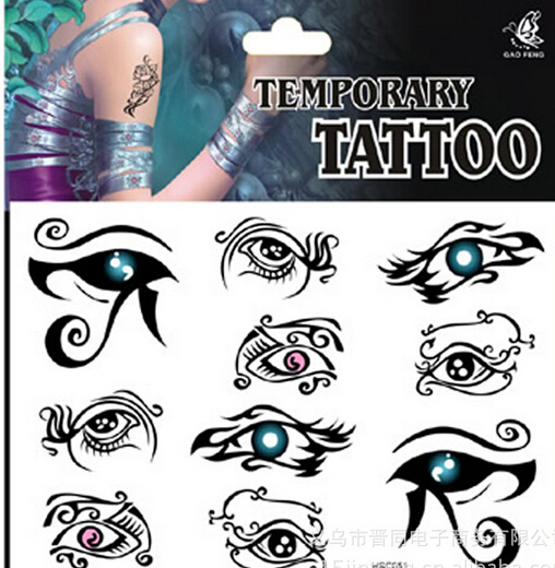 Promotion Punk Rock Eye Tattoo Stickers Waterproof Fake Tattoo Stickers Body Transferable Tattoos A206