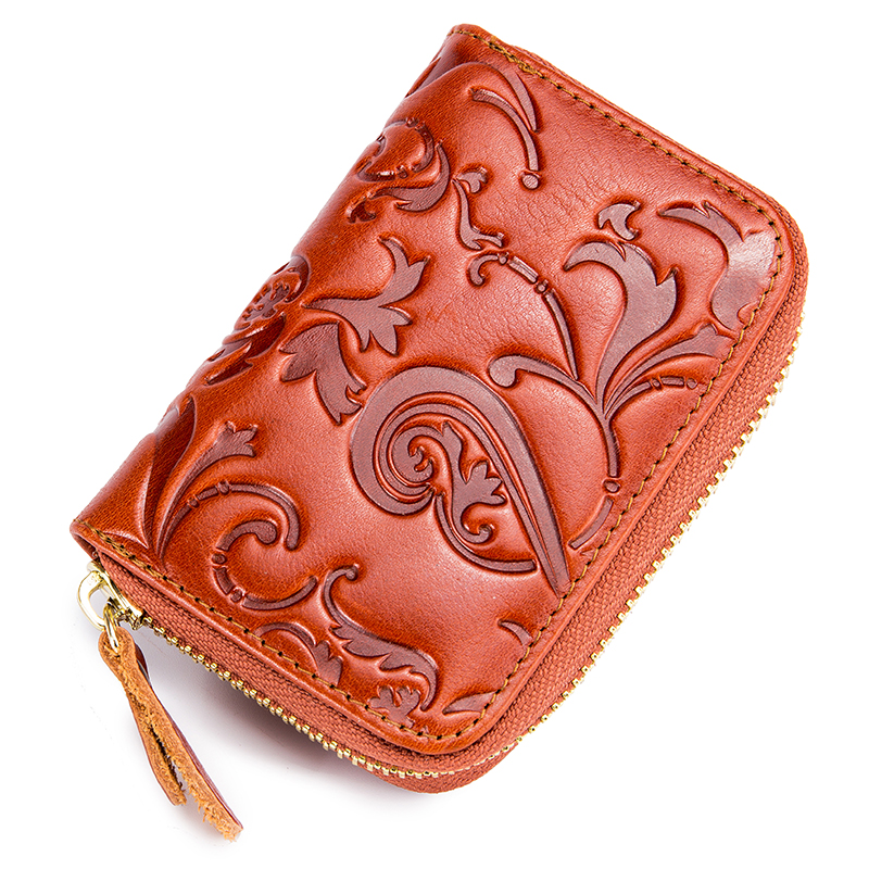 Fashionable Cowhide Embossing Flower RFID Card Wallets Guaranteed 2018 Brand Designer Women Card Holders Hot Vintage Card Case